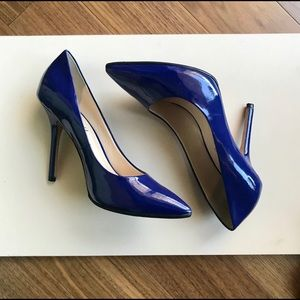 "Royal blue patent leather 4"" stilettos LIKE NEW"